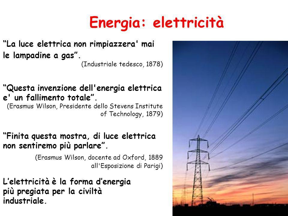 Energia: elettricità La luce elettrica non rimpiazzera mai le lampadine a gas . (Industriale tedesco, 1878)