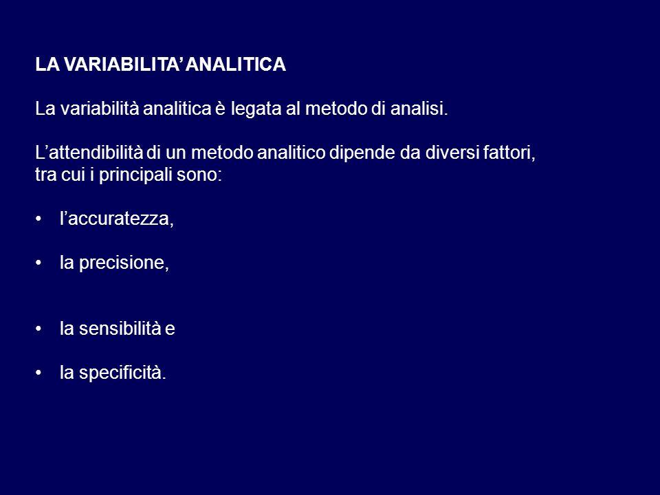 LA VARIABILITA' ANALITICA