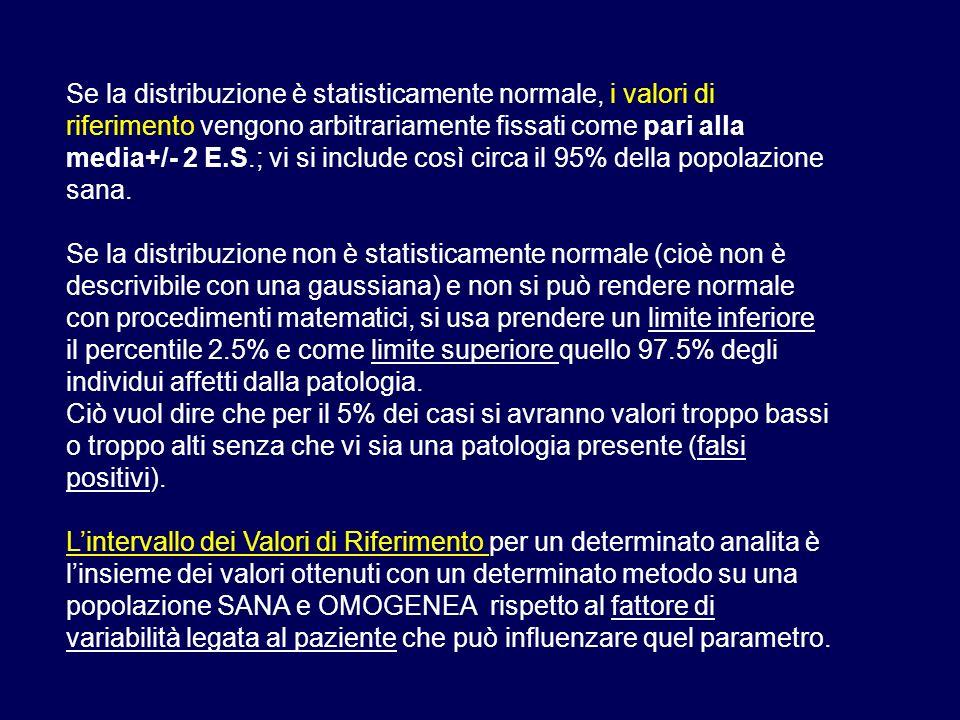 Se la distribuzione è statisticamente normale, i valori di riferimento vengono arbitrariamente fissati come pari alla media+/- 2 E.S.; vi si include così circa il 95% della popolazione sana.