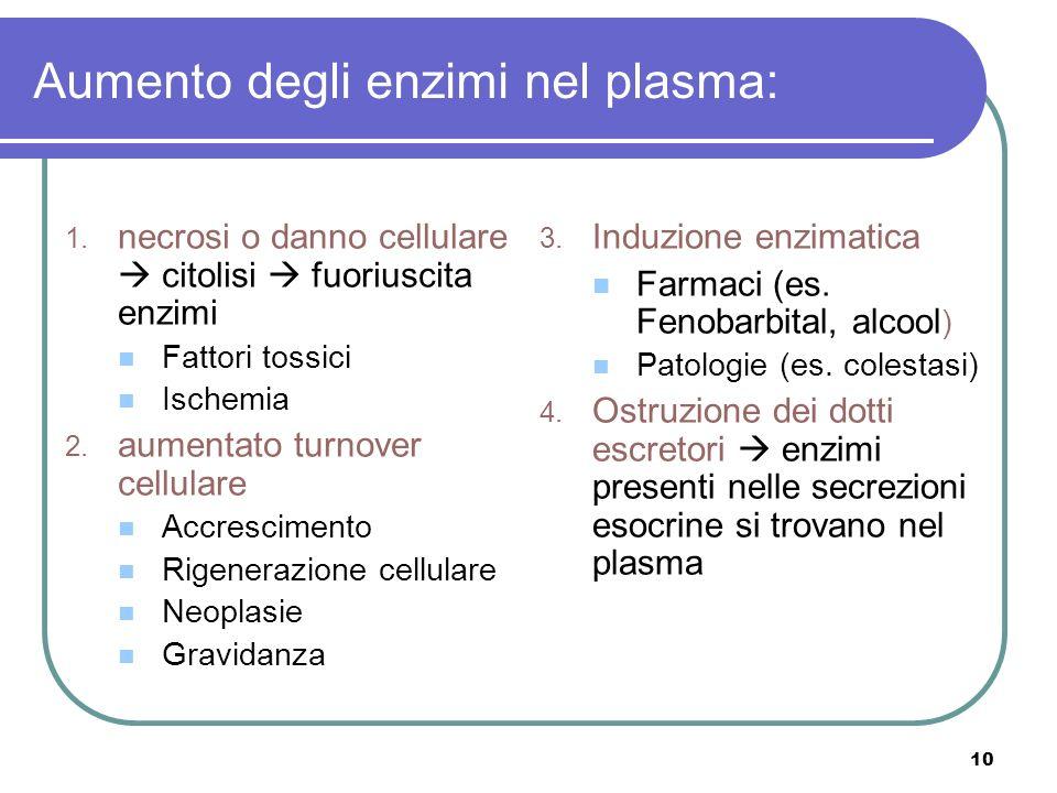 Aumento degli enzimi nel plasma: