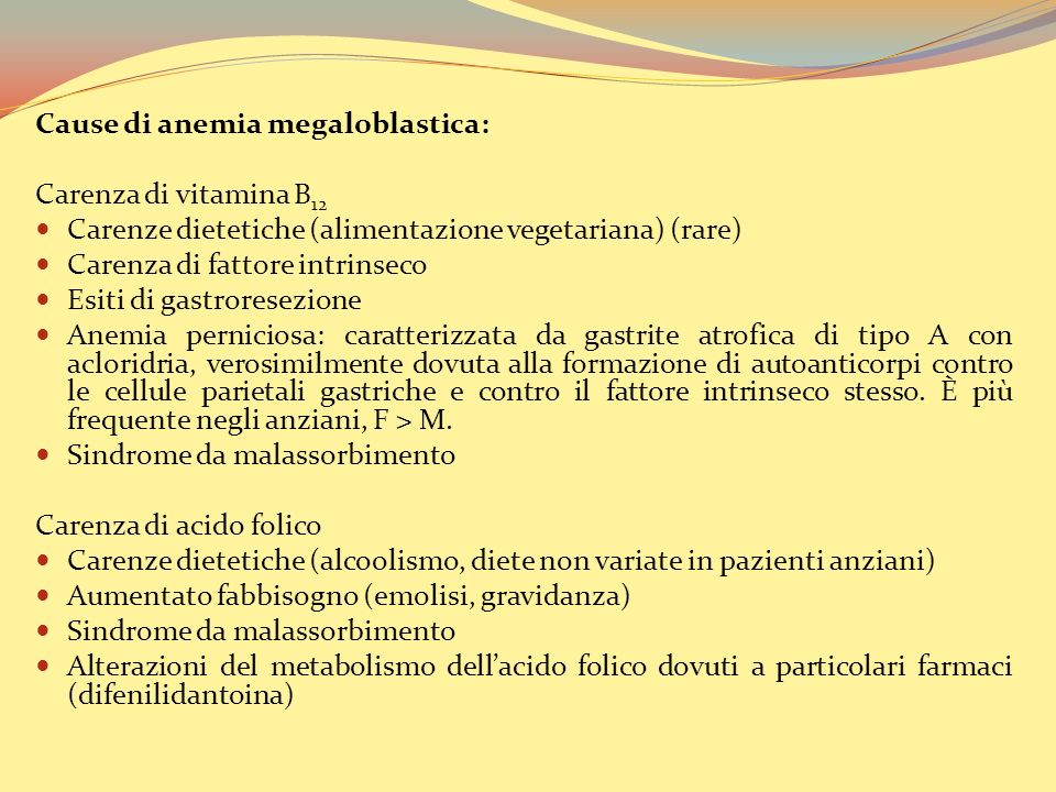 Cause di anemia megaloblastica: