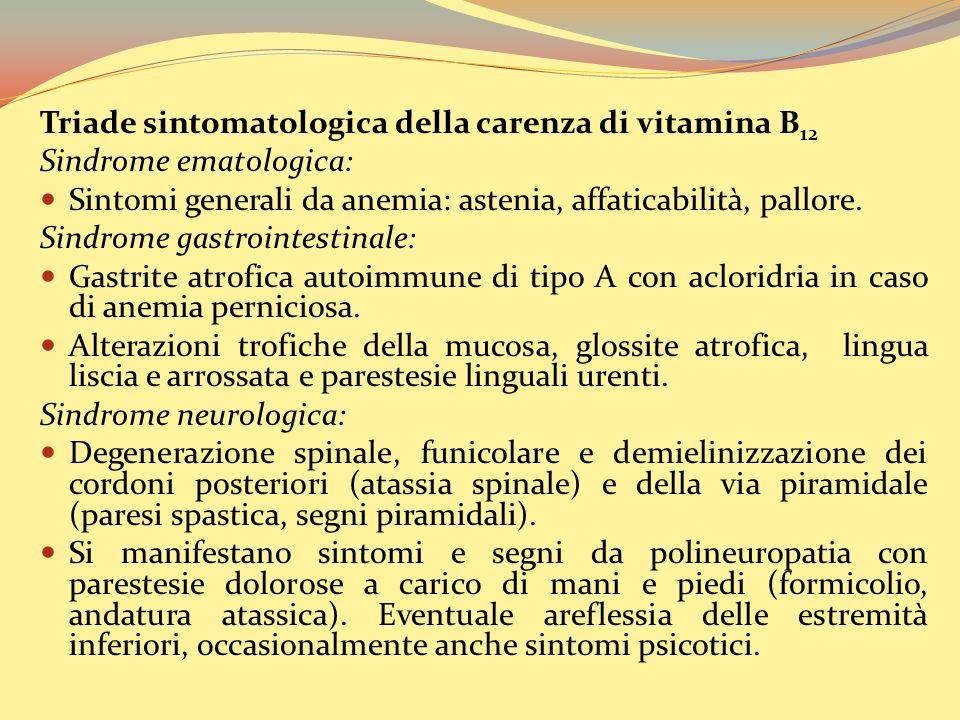 Triade sintomatologica della carenza di vitamina B12