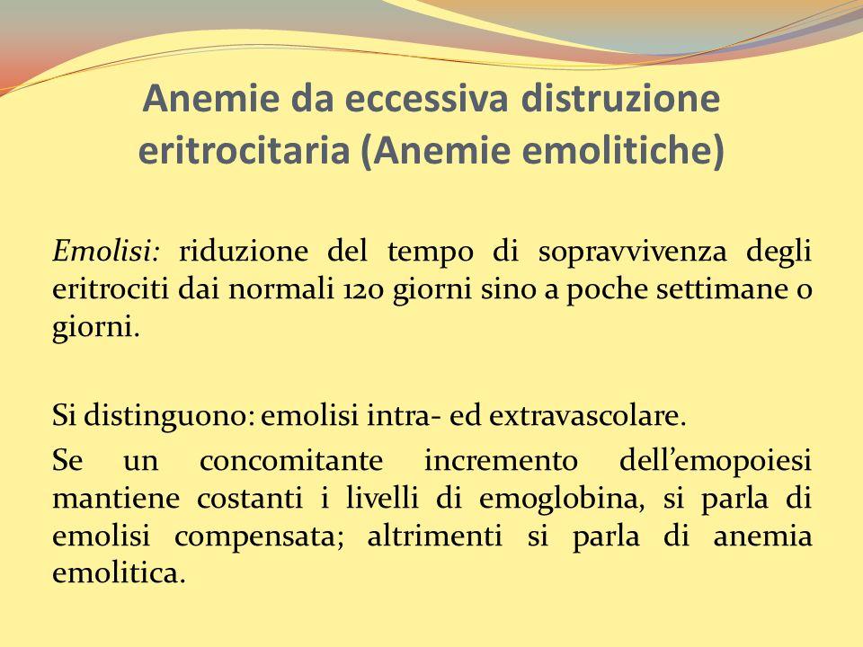 Anemie da eccessiva distruzione eritrocitaria (Anemie emolitiche)