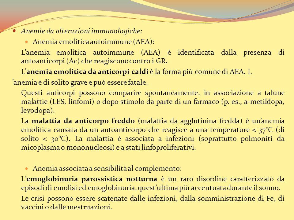 Anemie da alterazioni immunologiche: