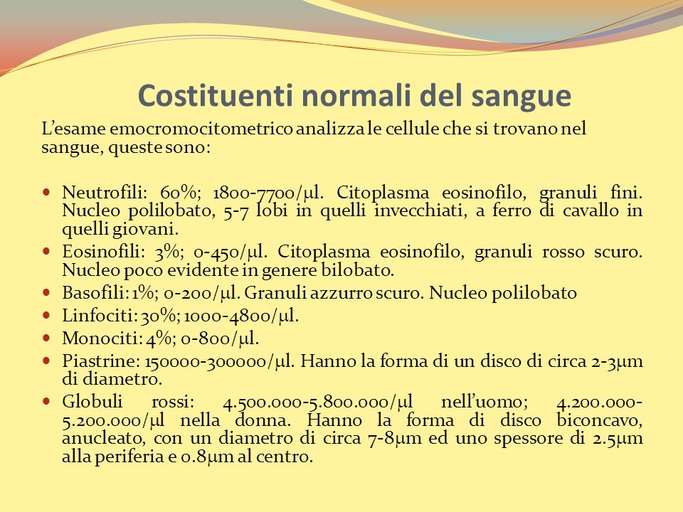 Costituenti normali del sangue