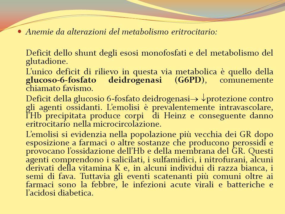 Anemie da alterazioni del metabolismo eritrocitario: