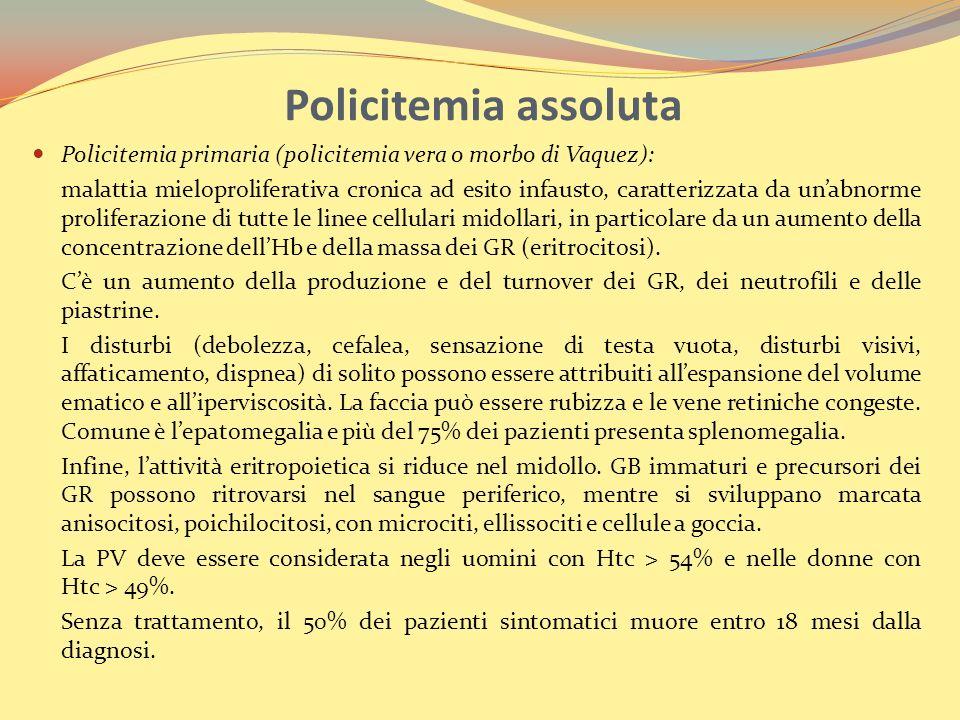 Policitemia assoluta Policitemia primaria (policitemia vera o morbo di Vaquez):