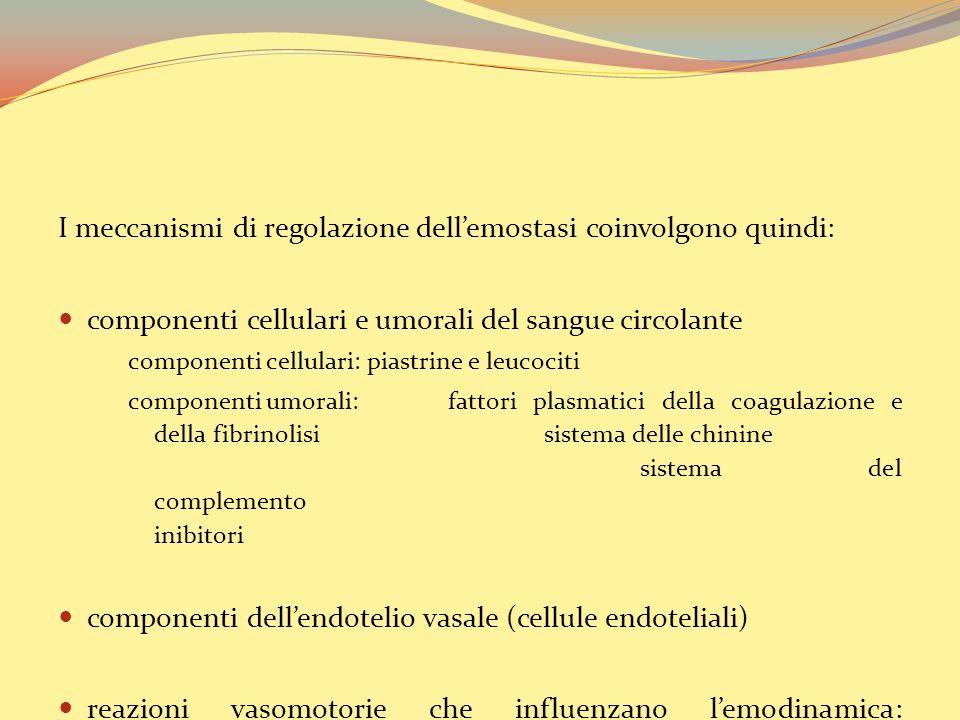 I meccanismi di regolazione dell'emostasi coinvolgono quindi: