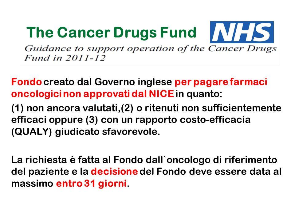 SANITA' The Cancer Drugs Fund. Fondo creato dal Governo inglese per pagare farmaci oncologici non approvati dal NICE in quanto: