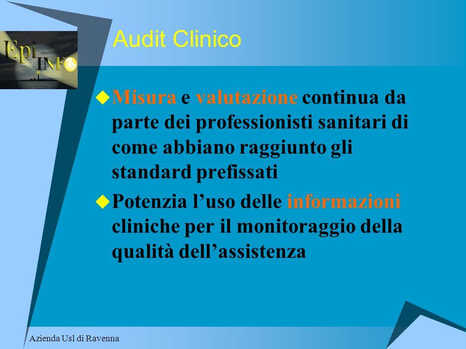 Audit Clinico Misura e valutazione continua da parte dei professionisti sanitari di come abbiano raggiunto gli standard prefissati.