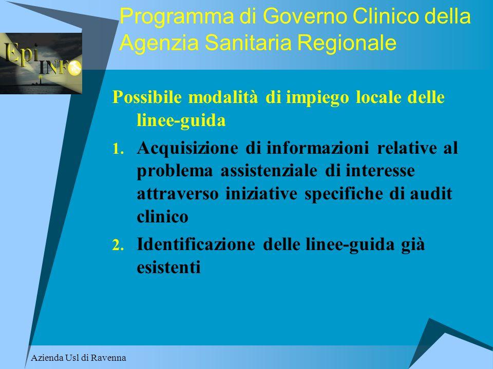 Programma di Governo Clinico della Agenzia Sanitaria Regionale