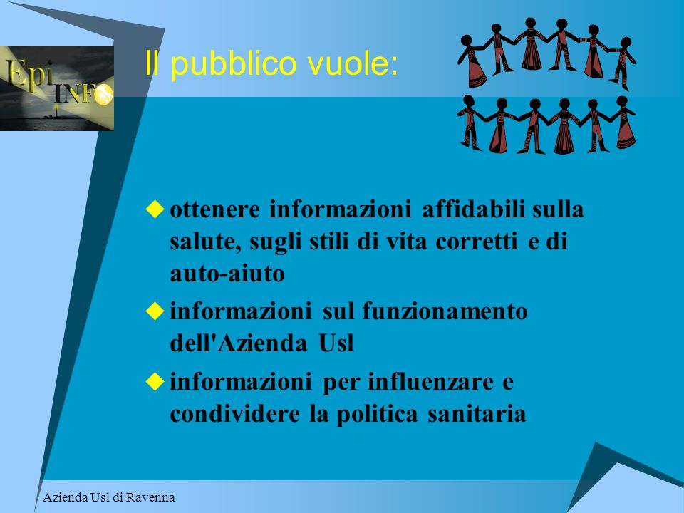 Il pubblico vuole: ottenere informazioni affidabili sulla salute, sugli stili di vita corretti e di auto-aiuto.