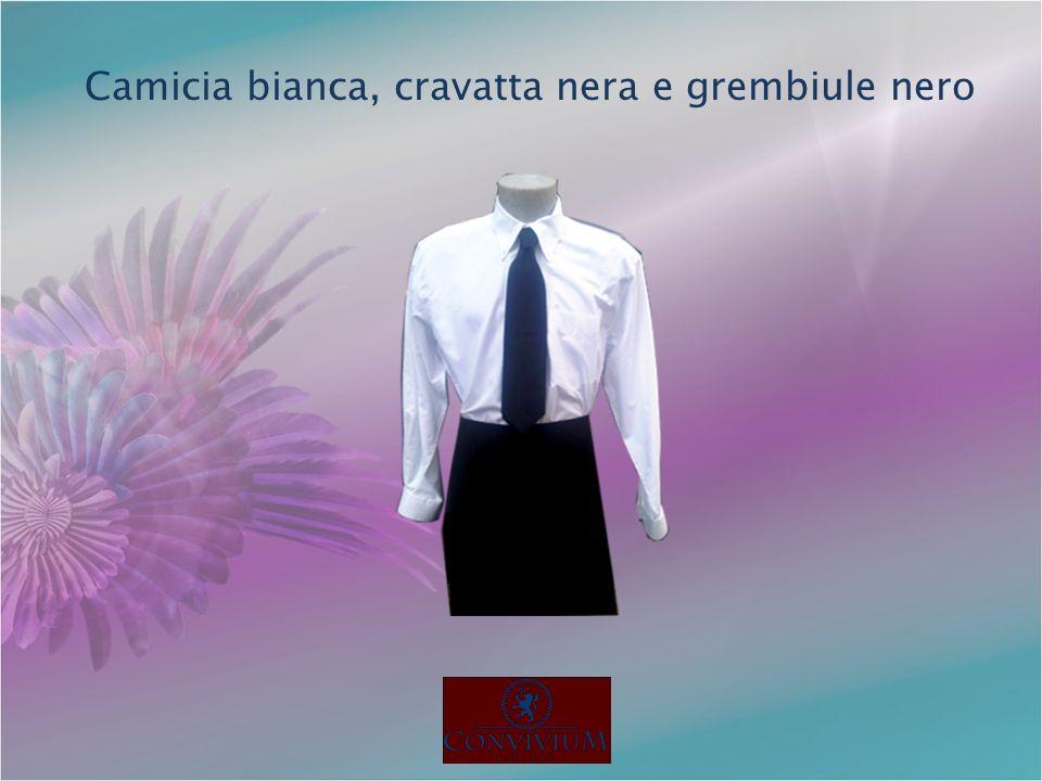 Camicia bianca, cravatta nera e grembiule nero
