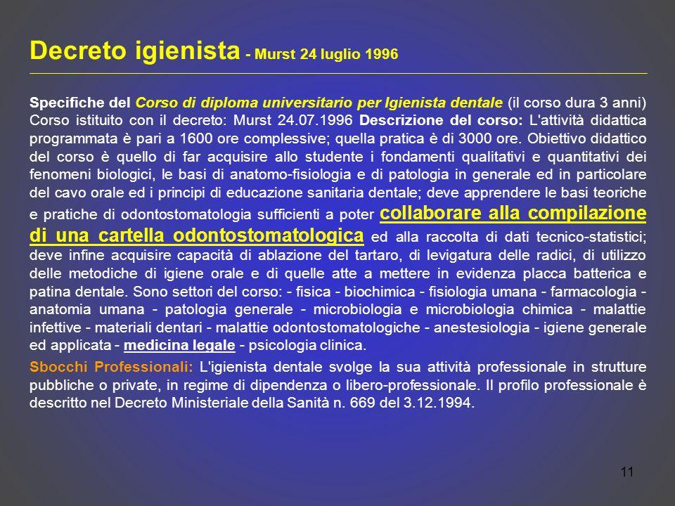 Decreto igienista - Murst 24 luglio 1996