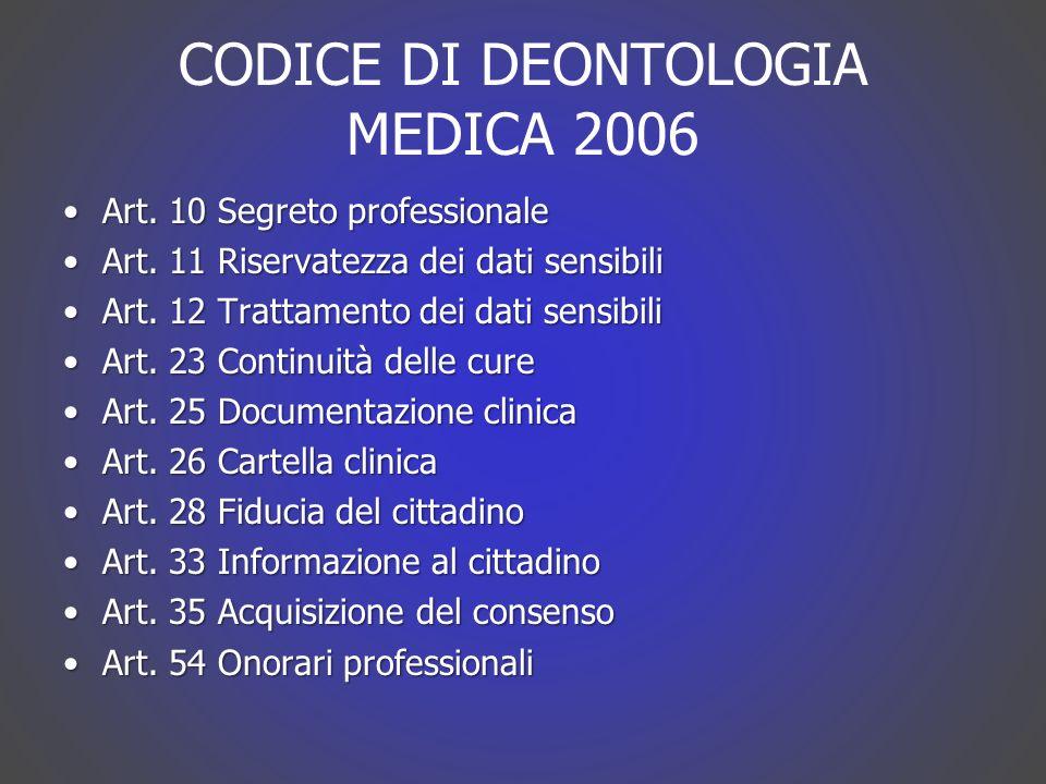 CODICE DI DEONTOLOGIA MEDICA 2006
