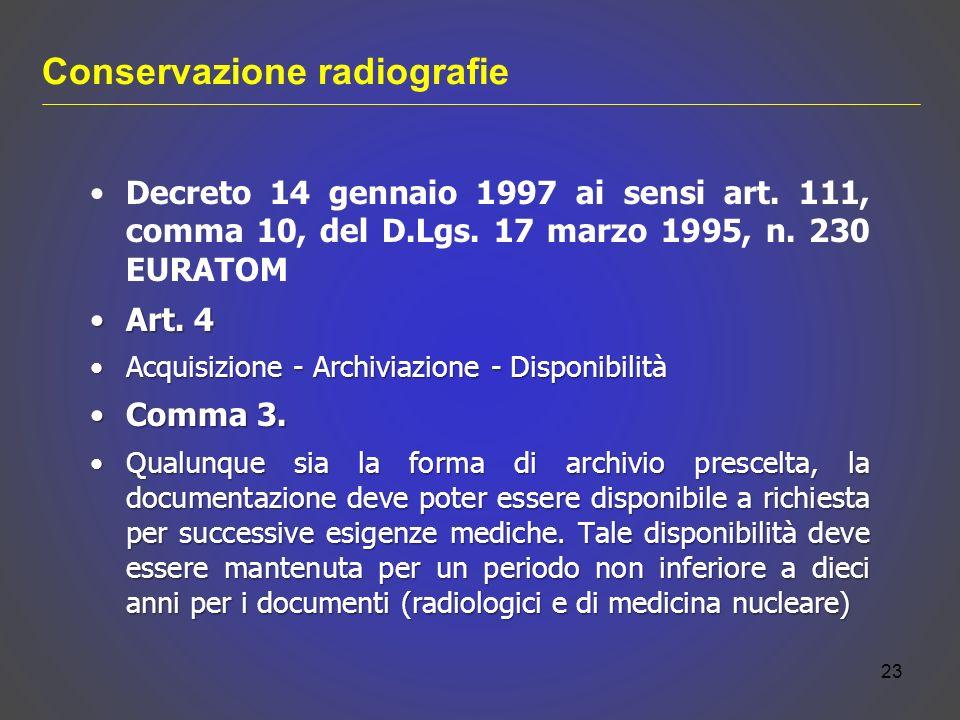 Conservazione radiografie