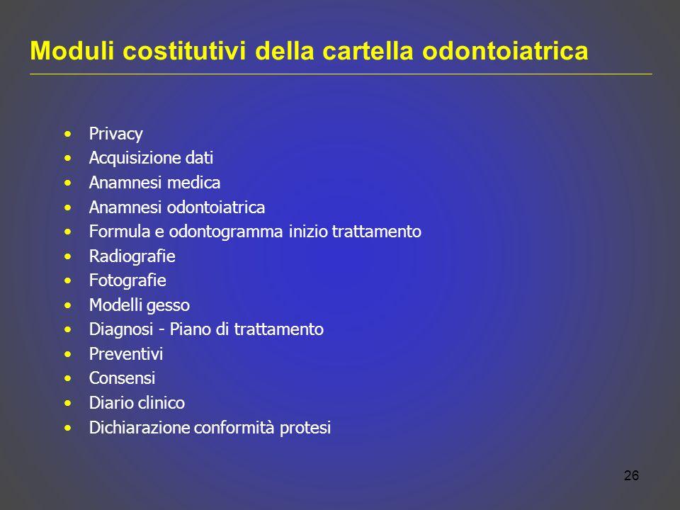 Moduli costitutivi della cartella odontoiatrica