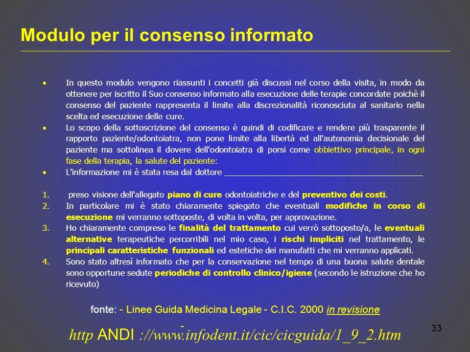 Modulo per il consenso informato