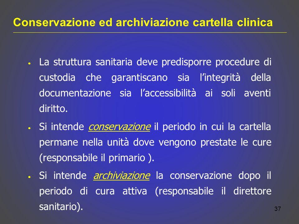 Conservazione ed archiviazione cartella clinica