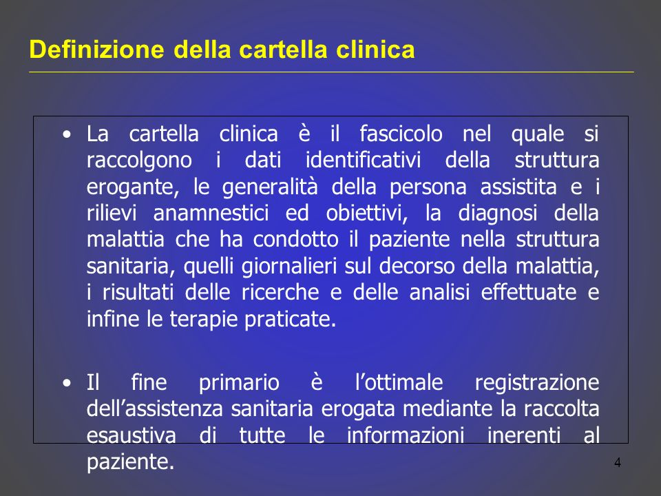 Definizione della cartella clinica