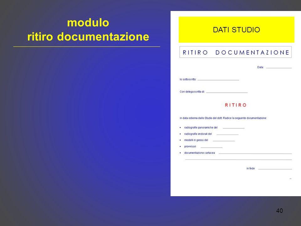 modulo ritiro documentazione