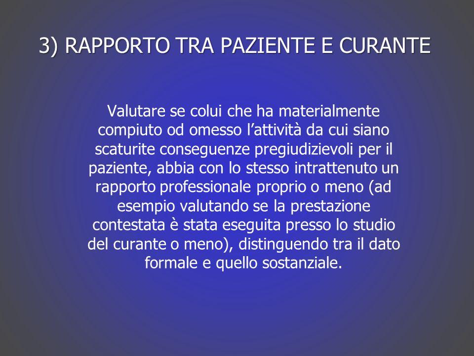 3) RAPPORTO TRA PAZIENTE E CURANTE