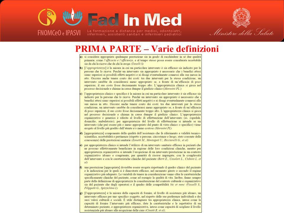 PRIMA PARTE – Varie definizioni