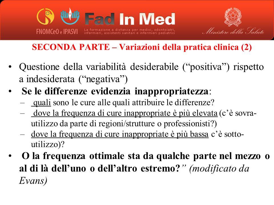 SECONDA PARTE – Variazioni della pratica clinica (2)