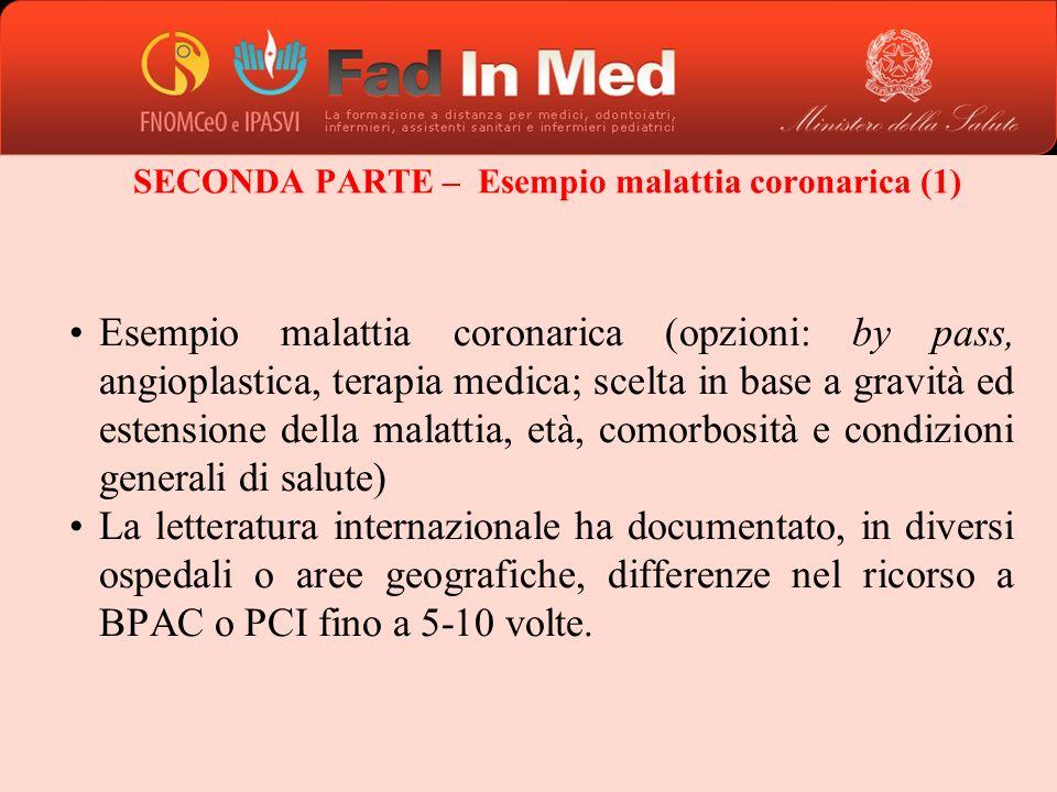 SECONDA PARTE – Esempio malattia coronarica (1)