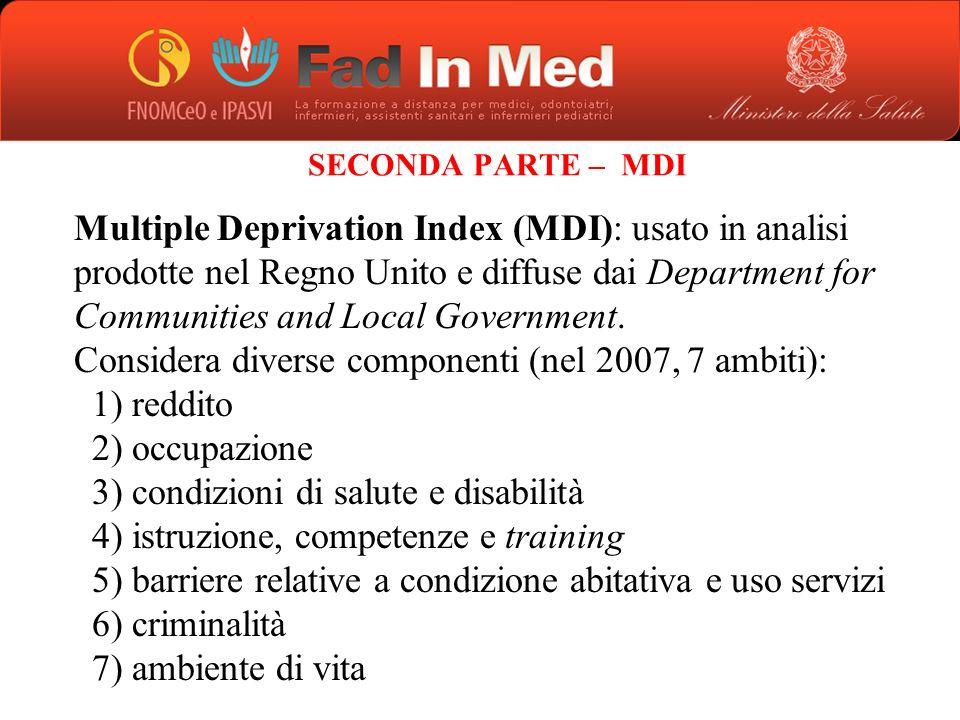 Considera diverse componenti (nel 2007, 7 ambiti): reddito occupazione