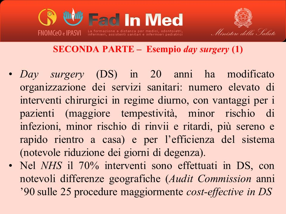 SECONDA PARTE – Esempio day surgery (1)