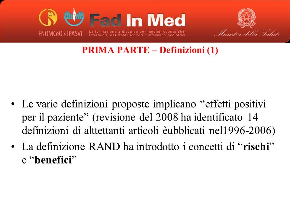 PRIMA PARTE – Definizioni (1)