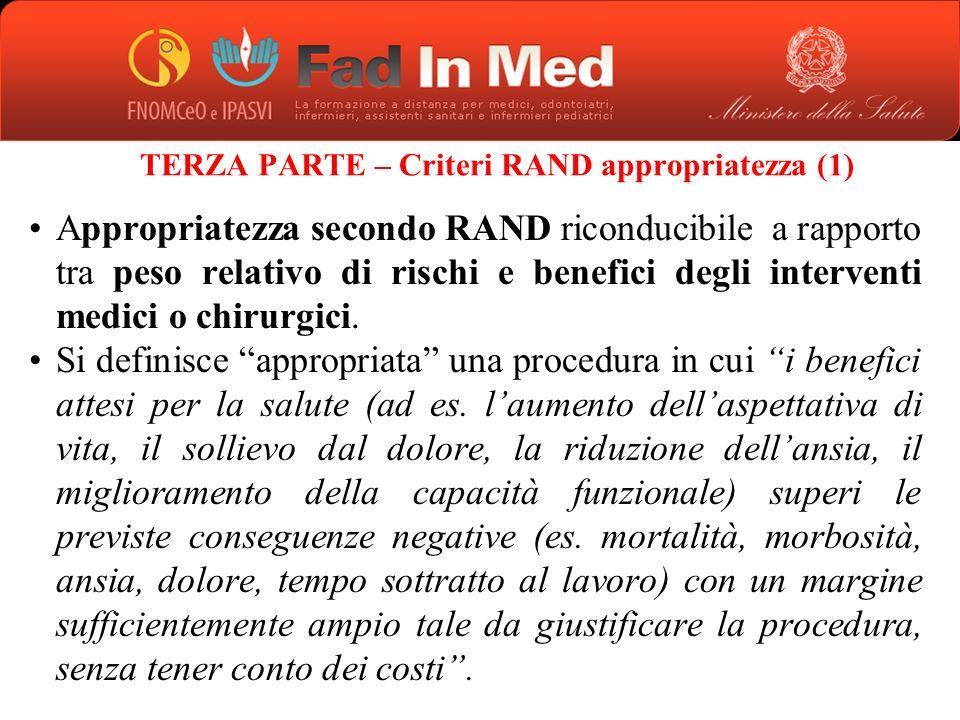 TERZA PARTE – Criteri RAND appropriatezza (1)