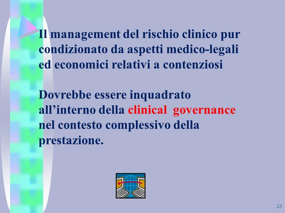 Il management del rischio clinico pur condizionato da aspetti medico-legali ed economici relativi a contenziosi