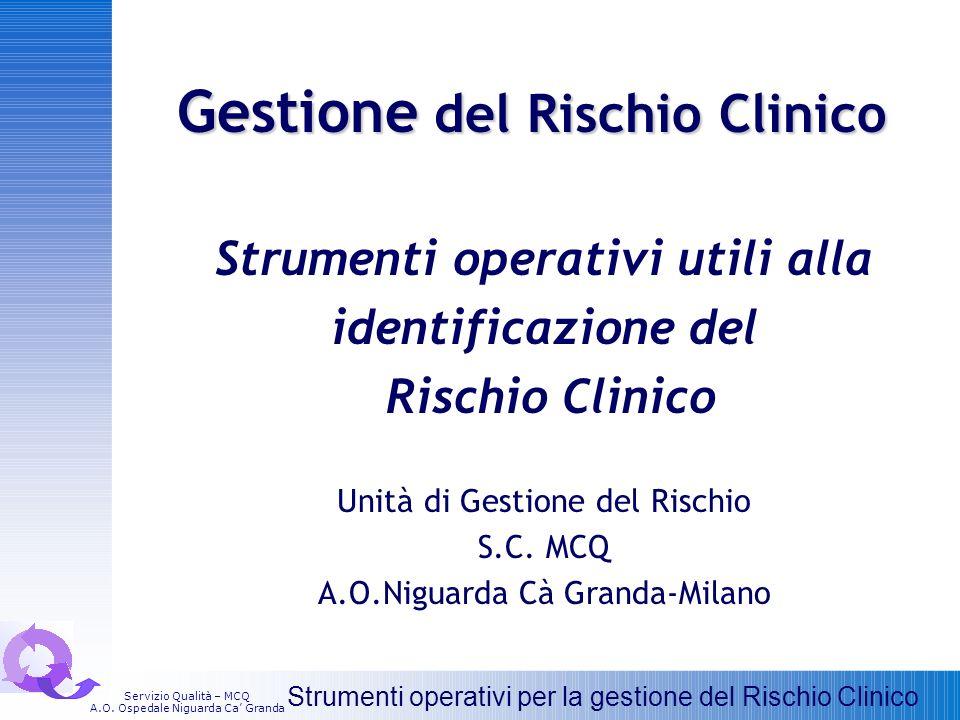 Gestione del Rischio Clinico Strumenti operativi utili alla