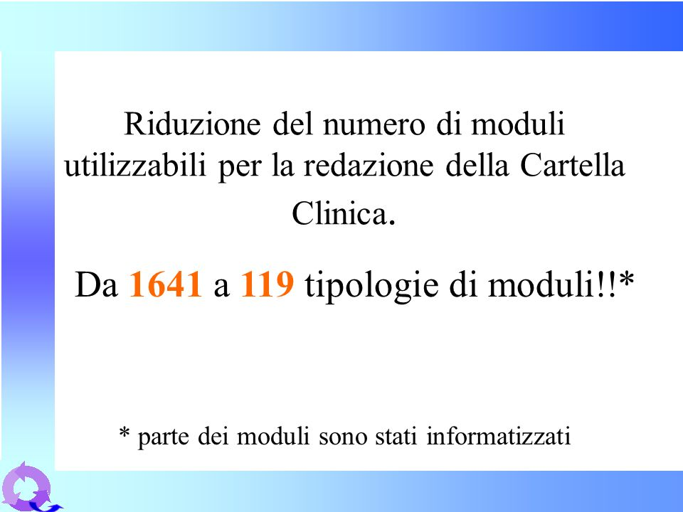 Da 1641 a 119 tipologie di moduli!!*