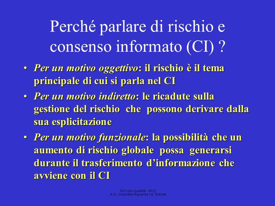 Perché parlare di rischio e consenso informato (CI)
