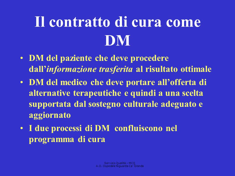 Il contratto di cura come DM