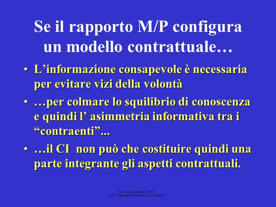 Se il rapporto M/P configura un modello contrattuale…
