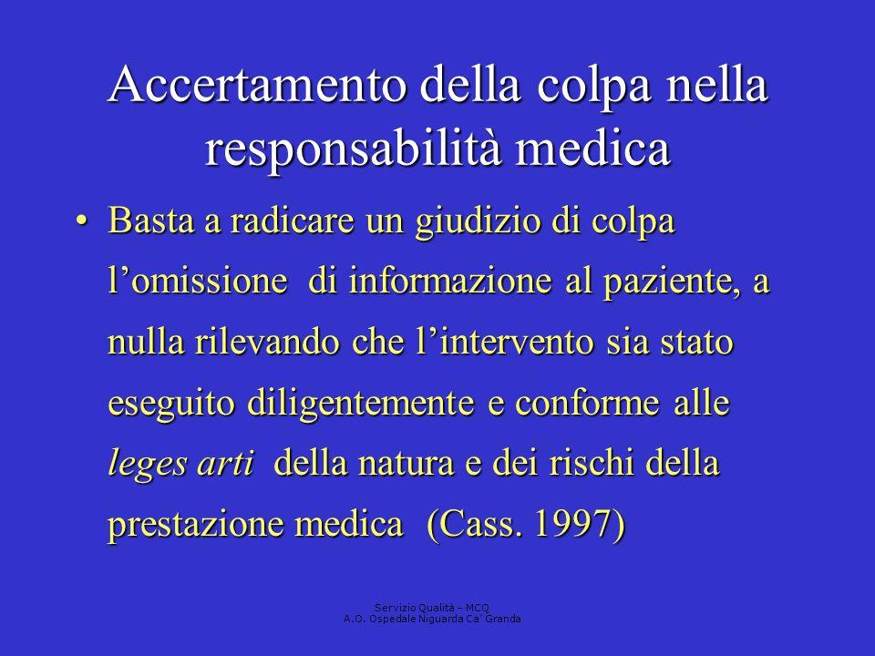 Accertamento della colpa nella responsabilità medica