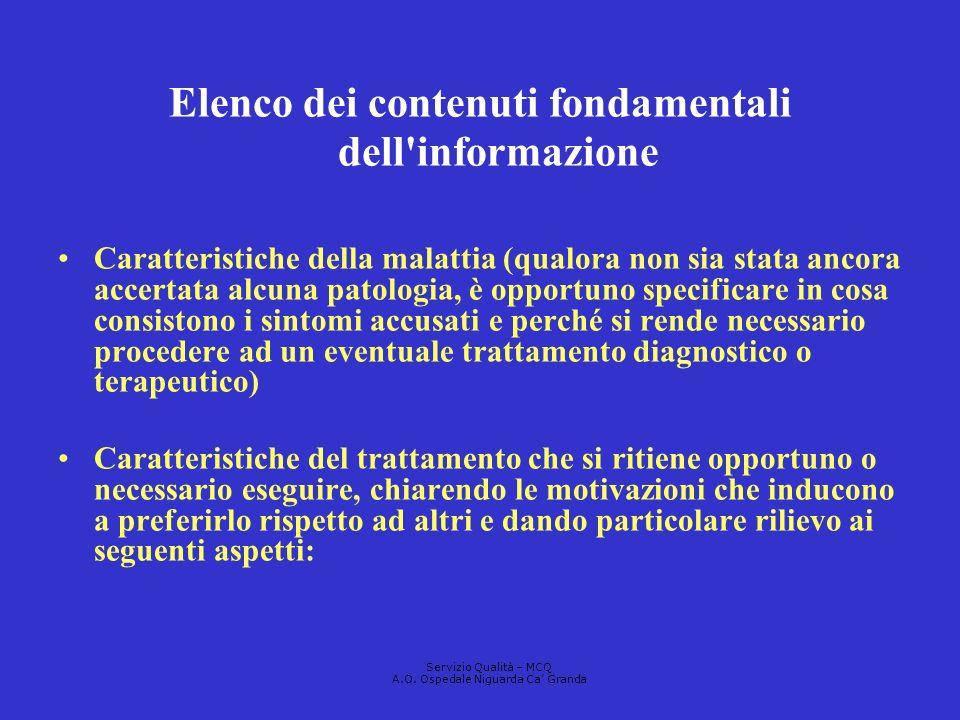 Elenco dei contenuti fondamentali dell informazione