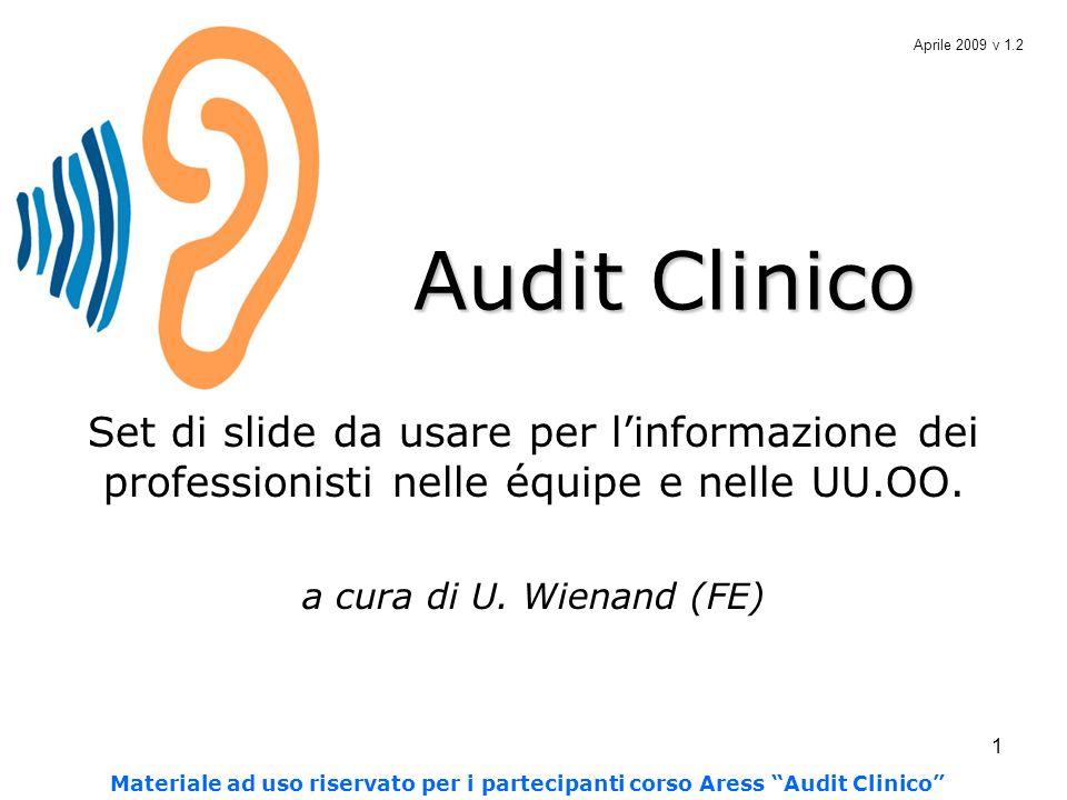 Aprile 2009 v 1.2 Audit Clinico. Set di slide da usare per l'informazione dei professionisti nelle équipe e nelle UU.OO.
