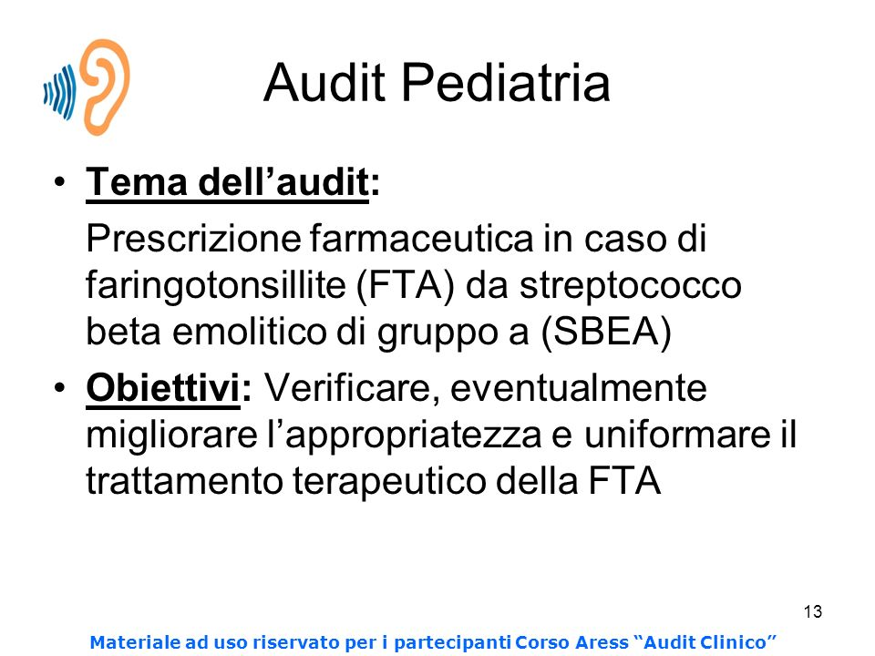 Audit Pediatria Tema dell'audit: