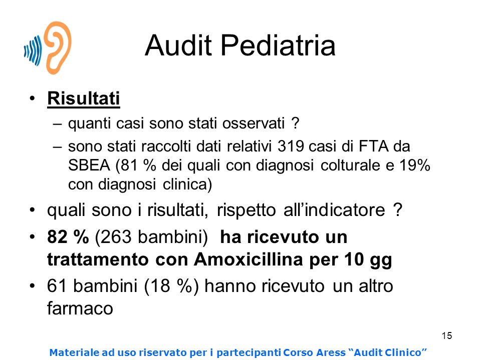 Audit Pediatria Risultati