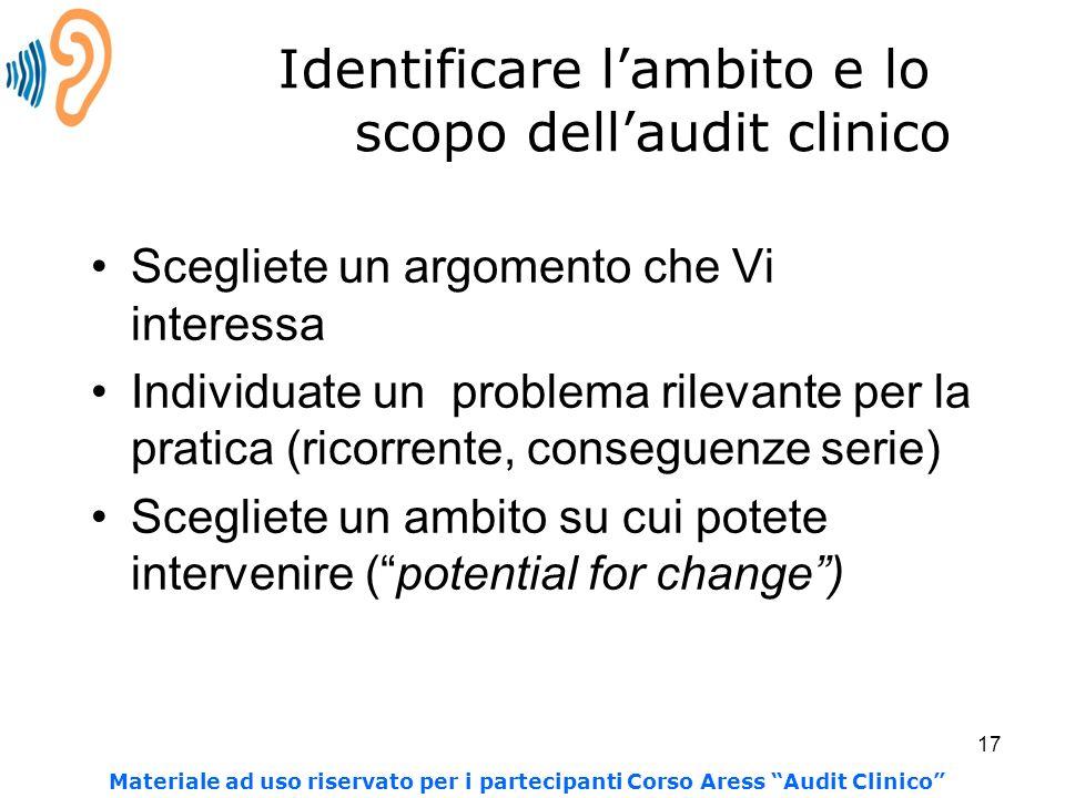 Identificare l'ambito e lo scopo dell'audit clinico