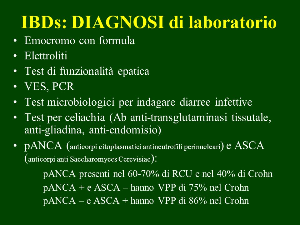 IBDs: DIAGNOSI di laboratorio