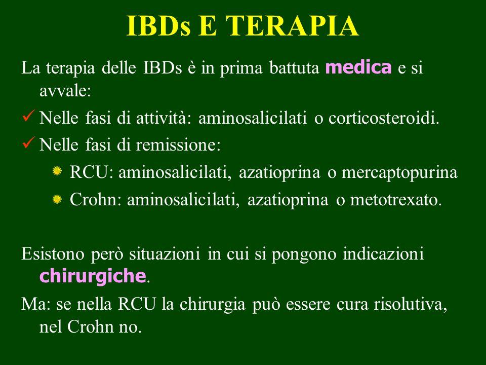 IBDs E TERAPIA La terapia delle IBDs è in prima battuta medica e si avvale: Nelle fasi di attività: aminosalicilati o corticosteroidi.