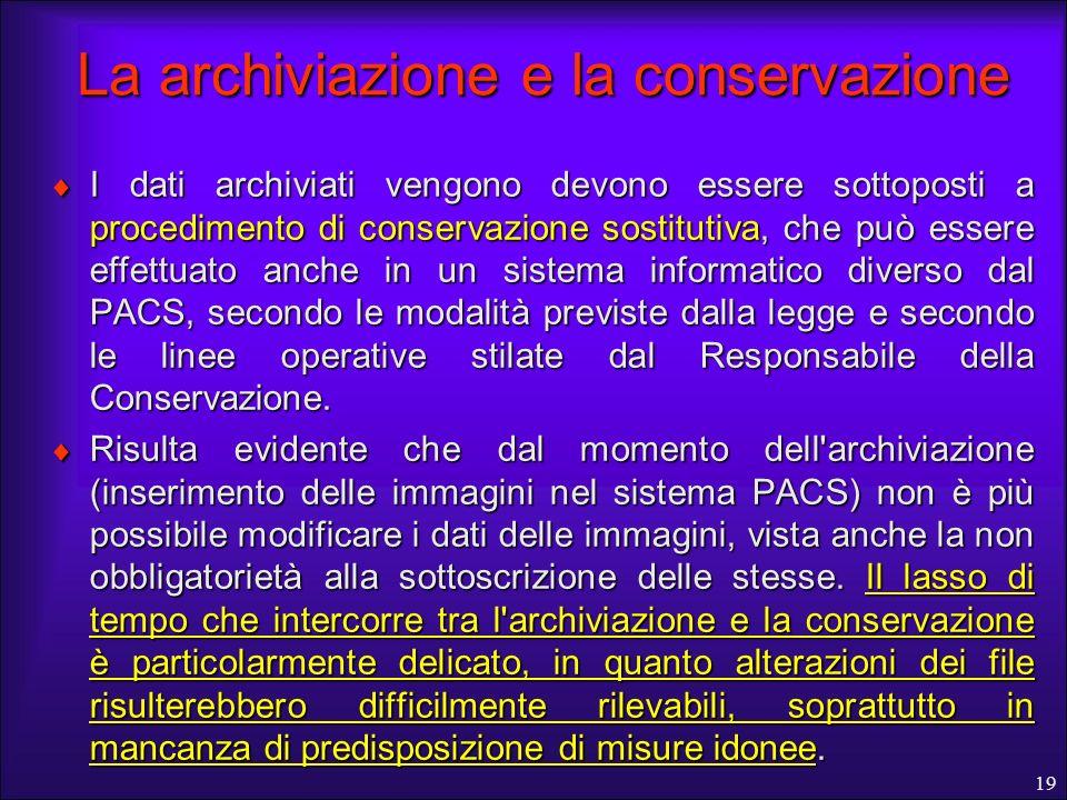 La archiviazione e la conservazione