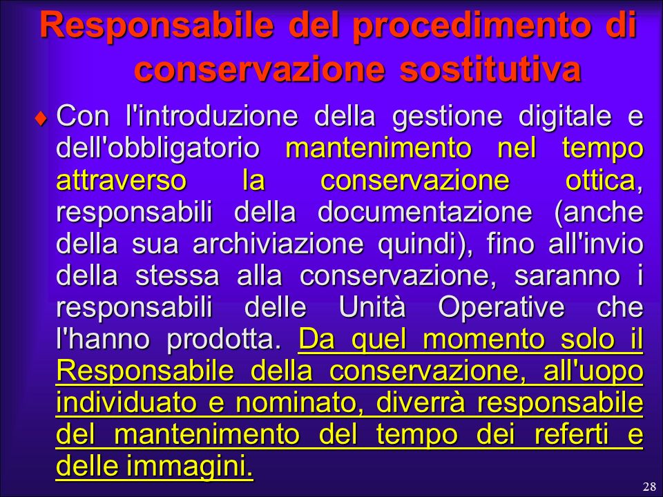 Responsabile del procedimento di conservazione sostitutiva