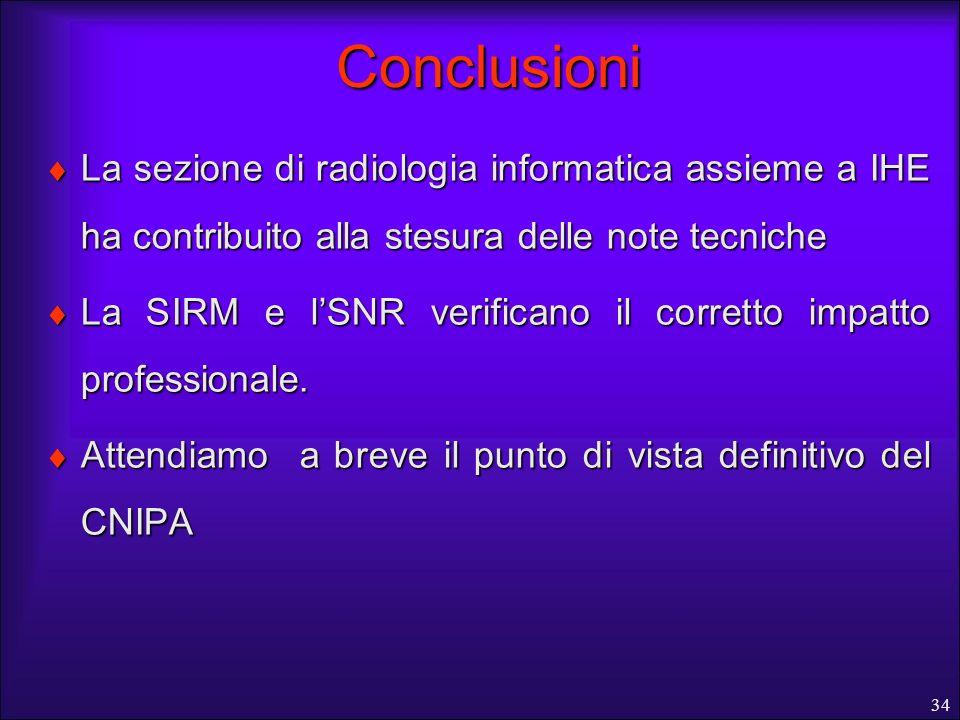 Conclusioni La sezione di radiologia informatica assieme a IHE ha contribuito alla stesura delle note tecniche.